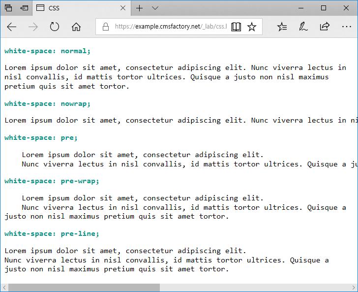 CSS / white-space – 공백 처리 방법 정하는 속성 – CODING FACTORY